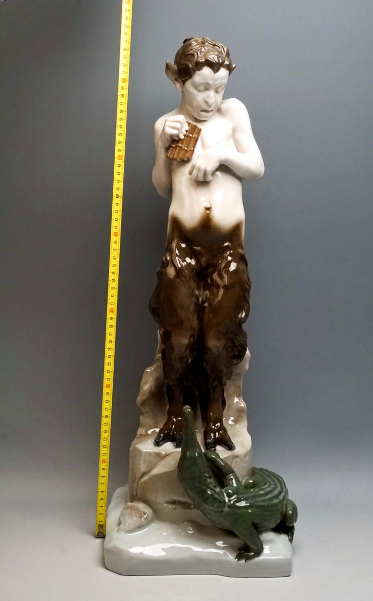 Very Large Porcelain Figure Faun with Crocodile Rosenthal Selb, Germany For Sale 3