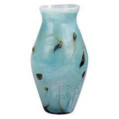 Very Large Powder Blue Blown Glass Vase with Aquatic Plants Decor, France 1990