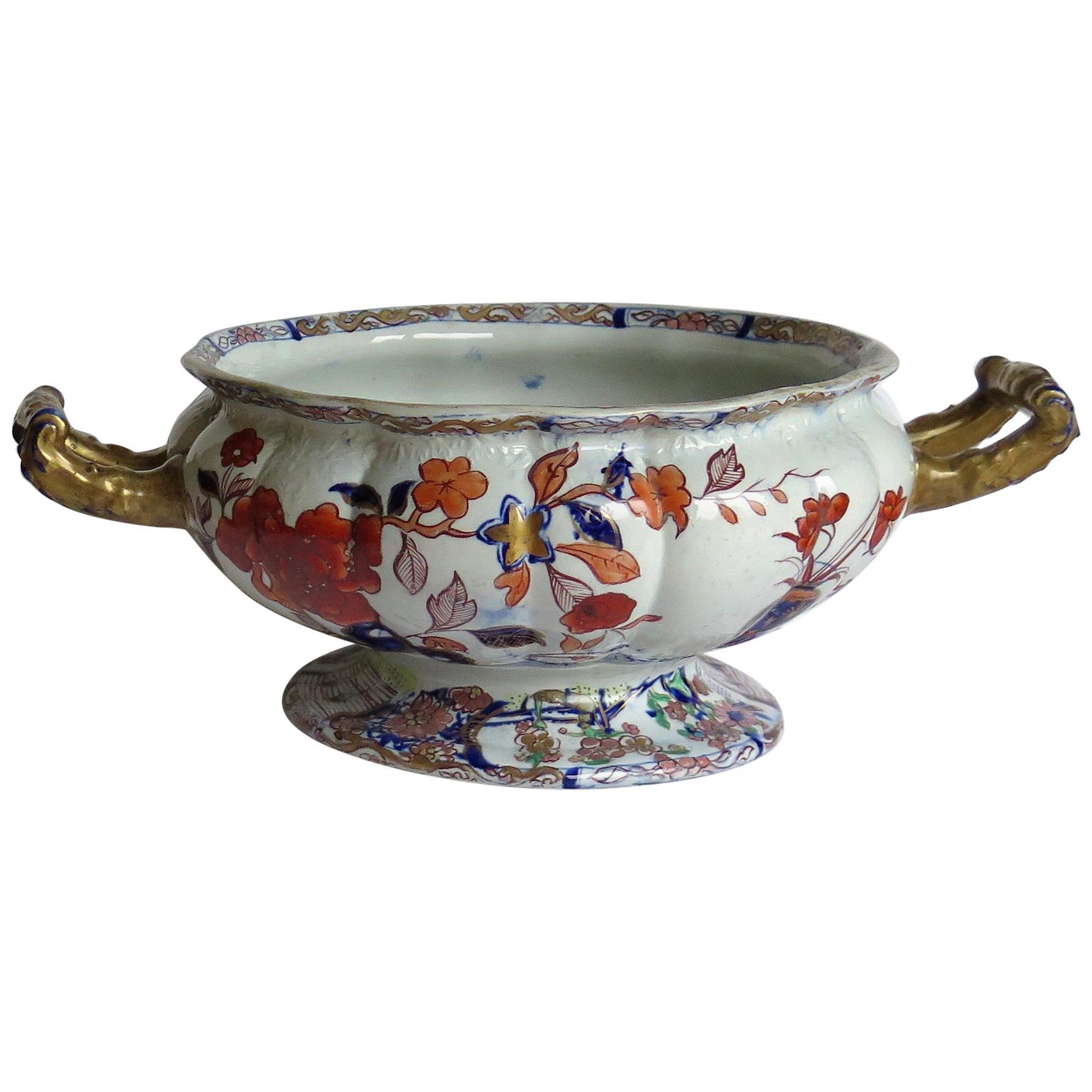 Very Large Rare Early Mason's Ironstone Bowl in Peking Vase Pattern, circa 1820