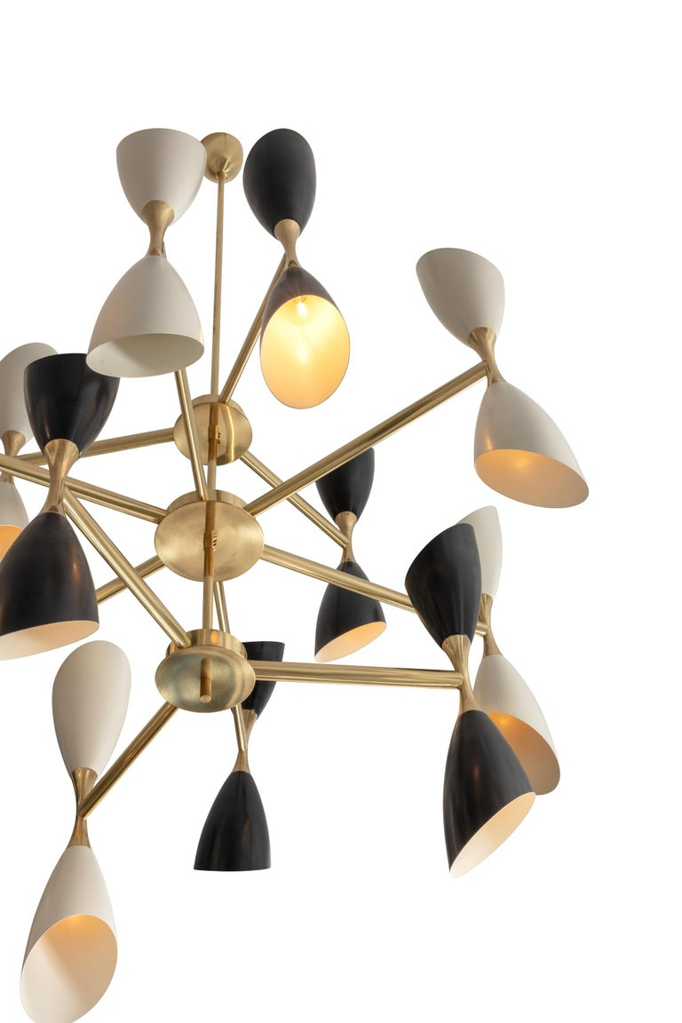 Painted Very Large Multi Shade Italian Mid Century Style Chandelier For Sale