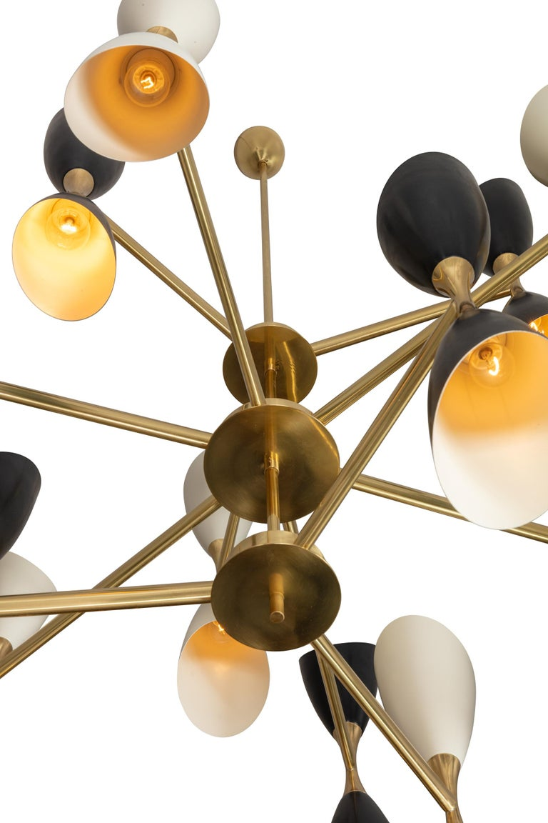 Contemporary Very Large Multi Shade Italian Mid Century Style Chandelier For Sale