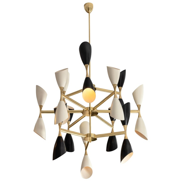 Very Large Multi Shade Italian Mid Century Style Chandelier For Sale