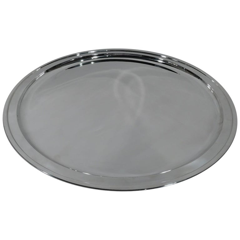 Very Large Round Sterling Silver Serving Tray by Tiffany & Co. For Sale