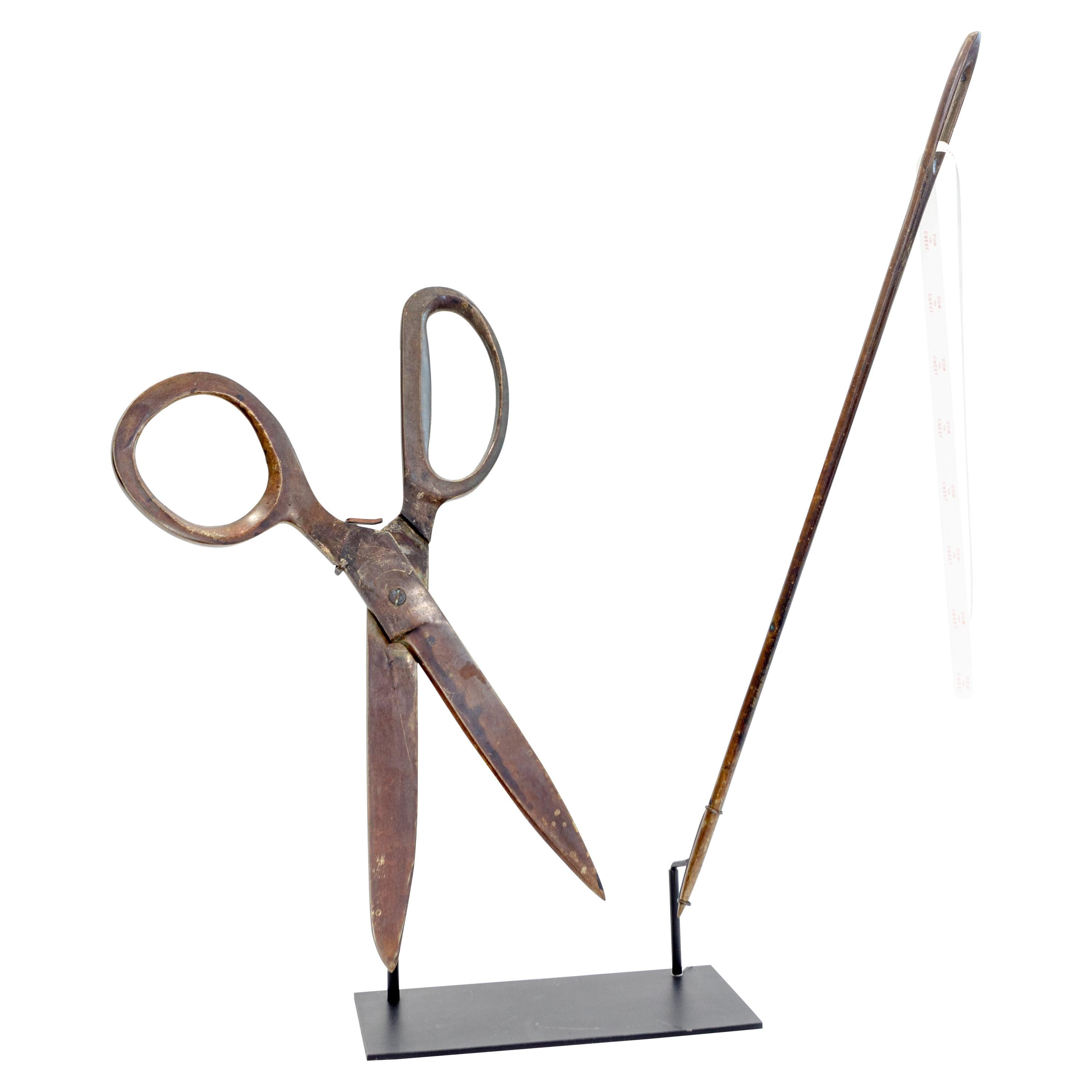 Very Large Scissors and Needle Trade Sign, Mounted