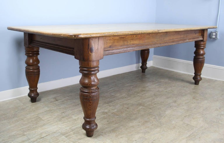 Very Large Scrubbed Top Pine Farm Table Chunky Turned Legs