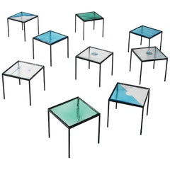 Very Large Set of Side Tables in Colorful Structured Glass and Steel