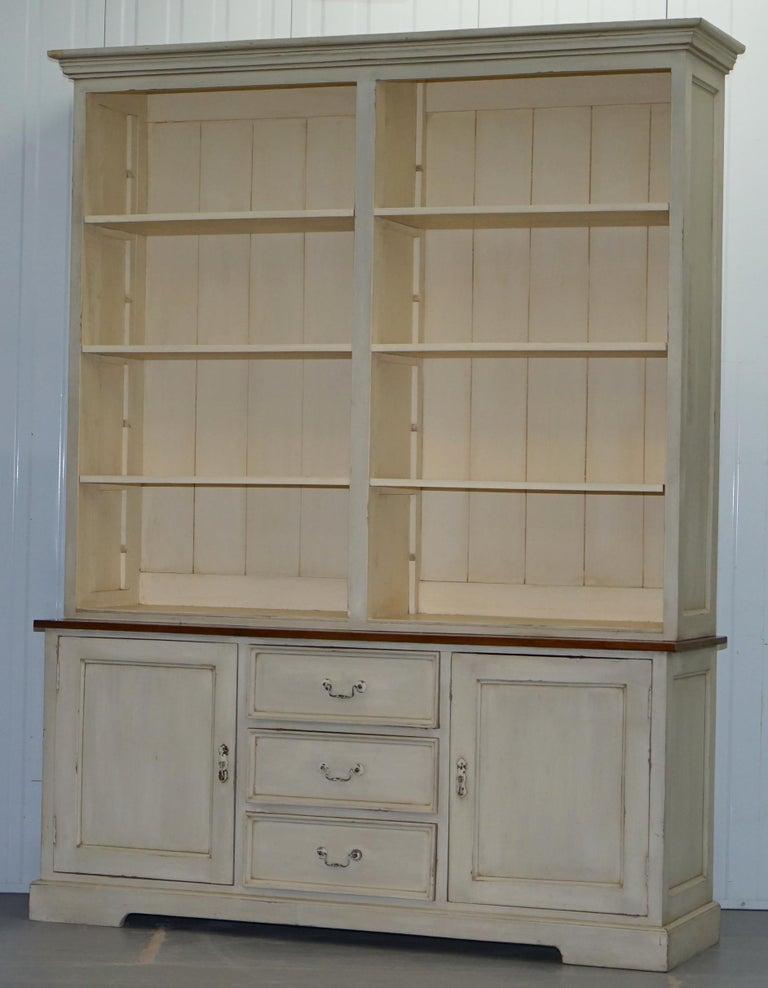 English Very Large Shaker Kitchen Haberdashery Cupboard Dresser Bookcase Paneled Oak For Sale