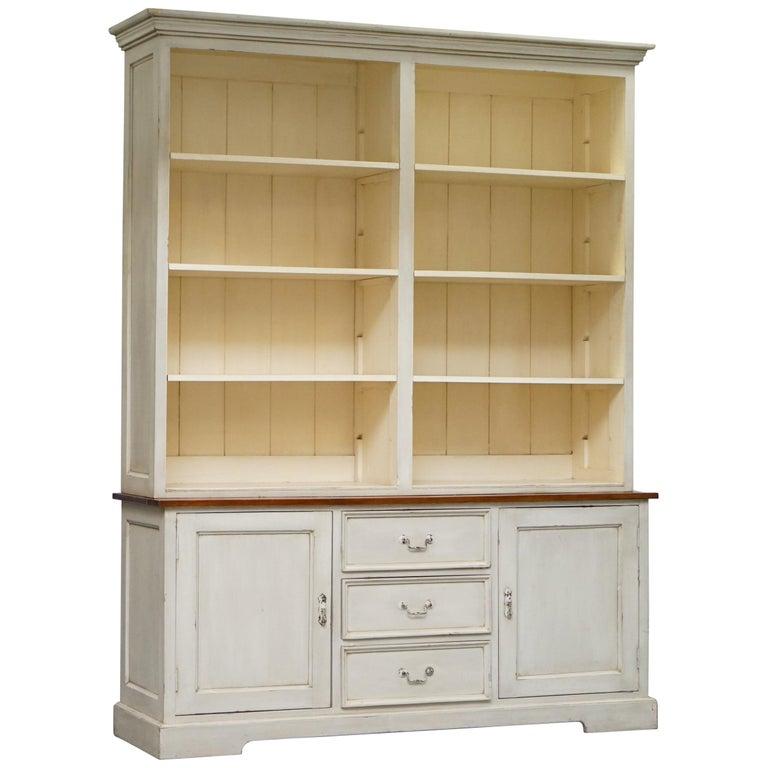 Very Large Shaker Kitchen Haberdashery Cupboard Dresser Bookcase Paneled Oak For Sale
