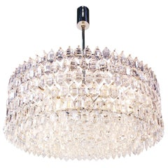 1950s Vienna Bakalowits & Sons Chandelier Crystal on Silver