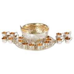 Very Large Silver Plate Punch Bowl Service for 24 People