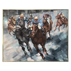 Very Large Steeplechase Contemporary Painting by Lee Reynolds