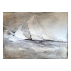 Very Large Striking Sailboat Painting in Muted Greys and White