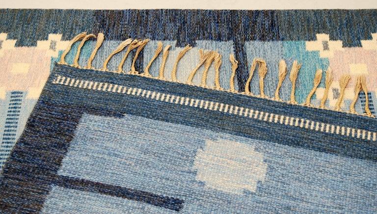 Scandinavian Modern Very Large Swedish Flat-Weave Rölakan Carpet by Ingegerd Silow For Sale
