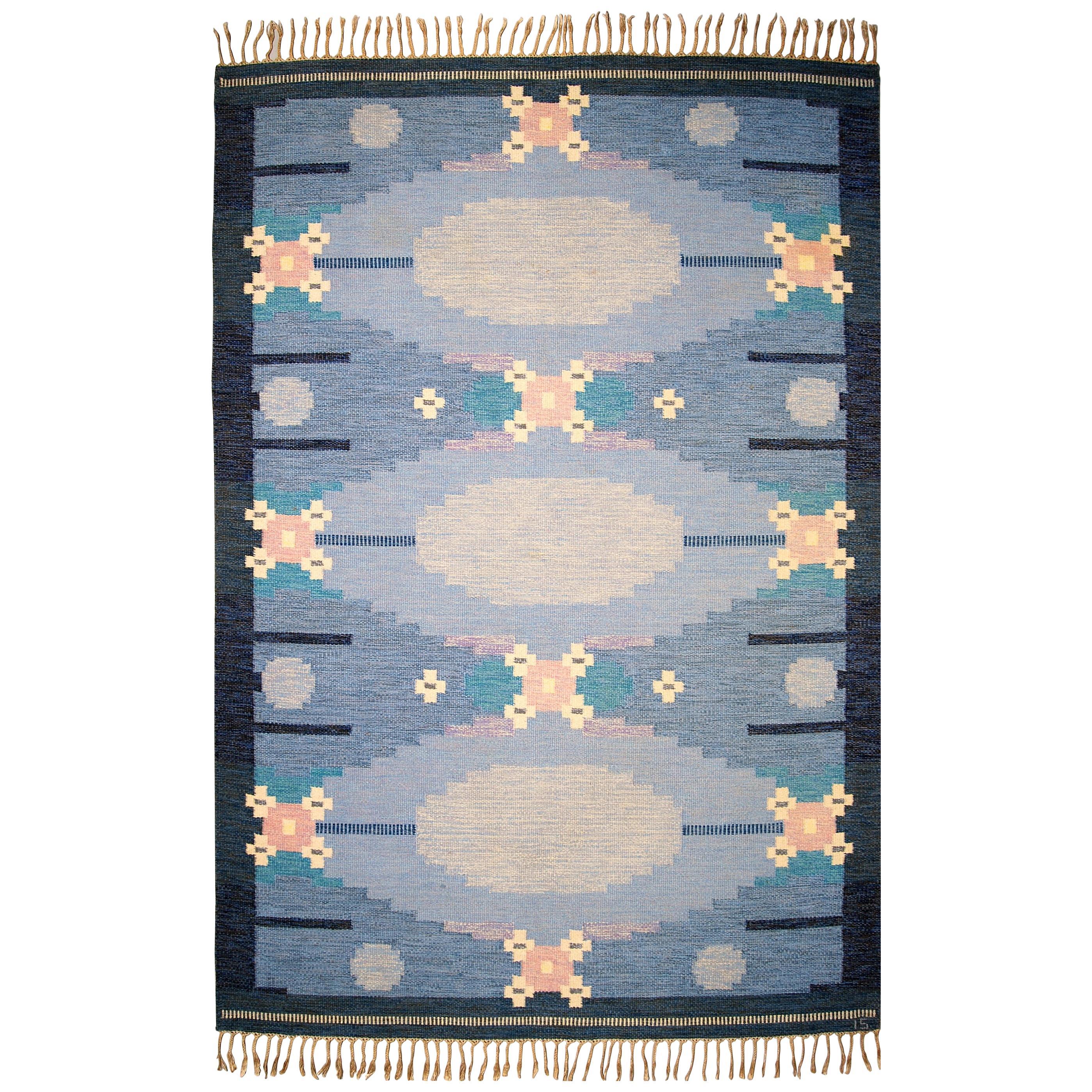 Very Large Swedish Flat-Weave Rölakan Carpet by Ingegerd Silow