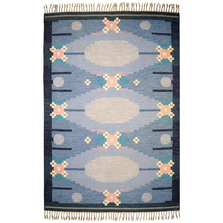 Very Large Swedish Flat-Weave Rölakan Carpet by Ingegerd Silow For Sale