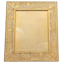Very Large Tiffany Studios Pine Needle Picture Frame in Gilt Metal and Glass