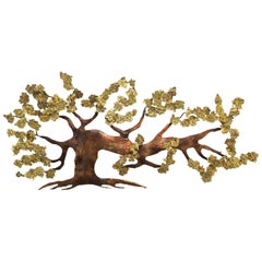 Very Large Tree of Life Metal Brass and Copper Wall Hanging Sculpture