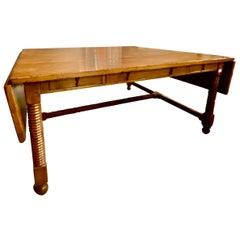 Very Large Tuscan Style Drop Leaf Center or Dining Table with Drawers