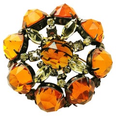 Very large unsigned topaz and citrine glass brooch, Schreiner, New York, 1960s