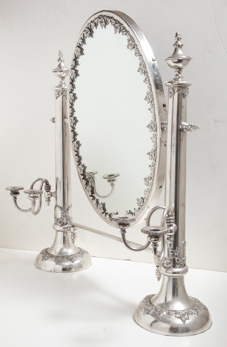 Very Large Victorian Sheffield Silver Plated Table Mirror For Sale 8
