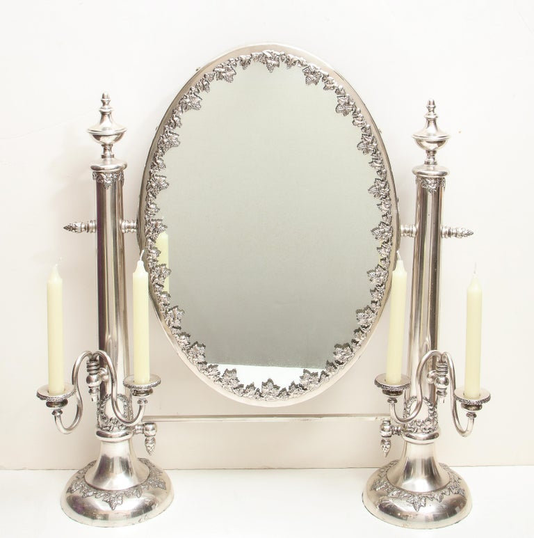 Very Large Victorian Sheffield Silver Plated Table Mirror For Sale 13