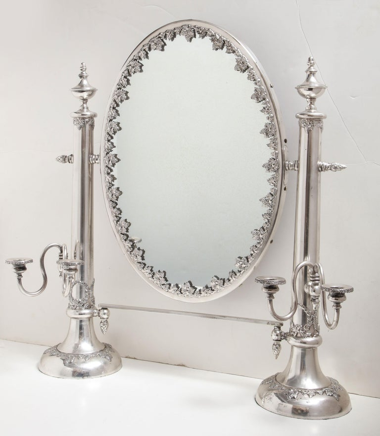 American Very Large Victorian Sheffield Silver Plated Table Mirror For Sale