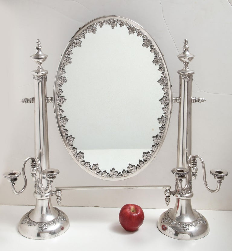 Very Large Victorian Sheffield Silver Plated Table Mirror In Good Condition For Sale In New York, NY