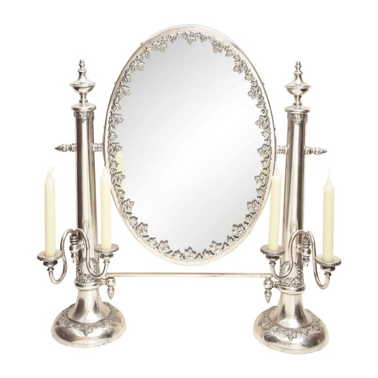 Very Large Victorian Sheffield Silver Plated Table Mirror For Sale