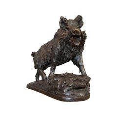 Very Large Vintage Bronze Boar Sculpture, Continental, Natural Study, Statue