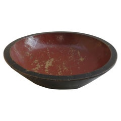 Very Large Vintage Hand Produced Red and Black Lacquered Japanese Bowl