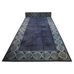 Very Large Vintage Open-Field Wollen Spanish Midnight Blue Carpet, 1920-1950