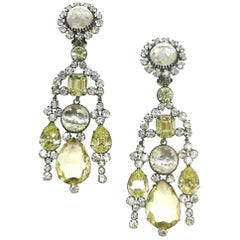 Very long clear and citrine paste drop earrings, Kenneth Jay Lane 1960s