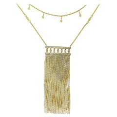 Very Long Diamond Falling Tassel Yellow Gold Necklace