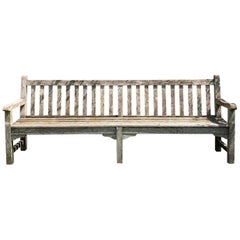 Very Long French Lichened Teak Bench, Signed Paris