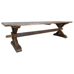 Very Long French Pine Refectory Table with Trestle Base