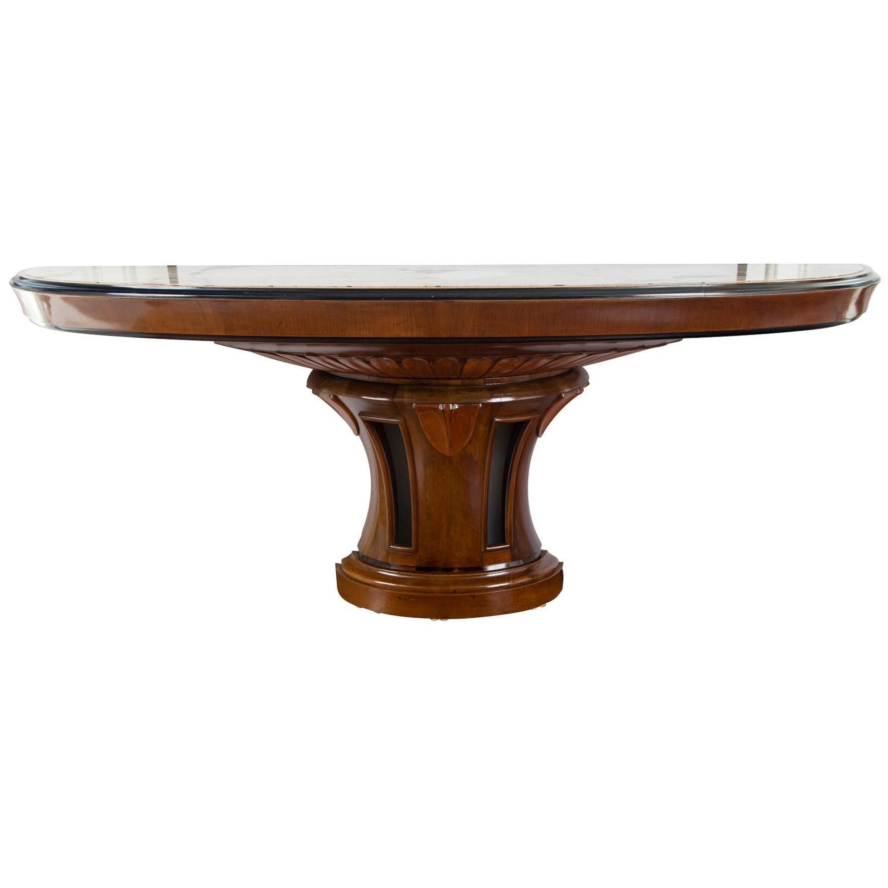 Very Long Italian Art Nouveau Demilune Console Table