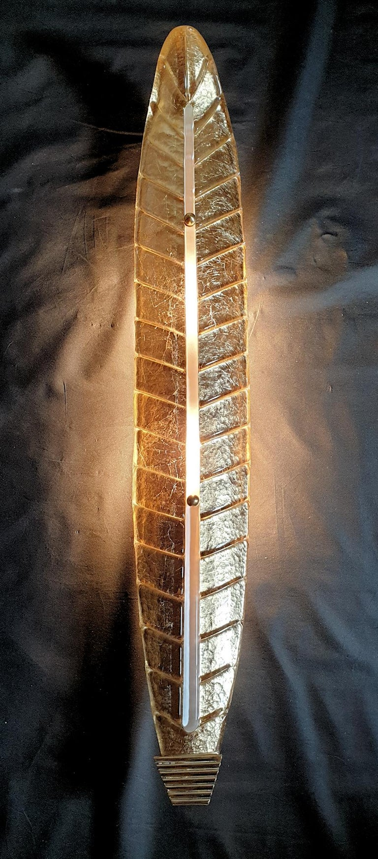 Brass Very long Mid-Century Modern Murano Glass Gold Leaf Sconces, Barovier Style 1970 For Sale