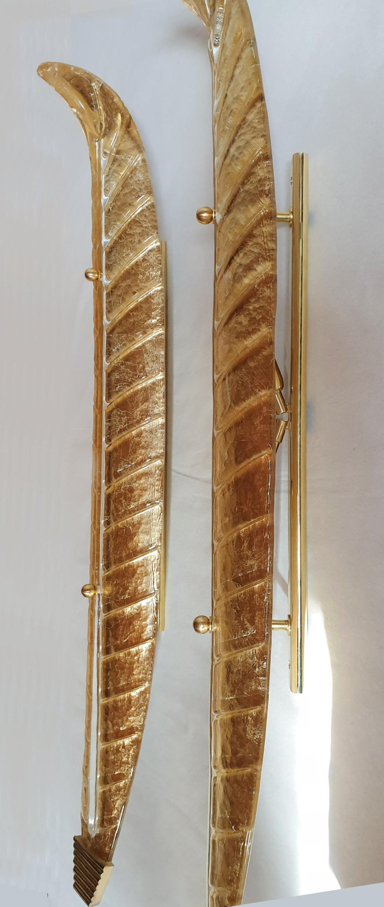 Very long Mid-Century Modern Murano Glass Gold Leaf Sconces, Barovier Style 1970 For Sale 1