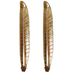 Very long Mid-Century Modern Murano Glass Gold Leaf Sconces, Barovier Style 1970