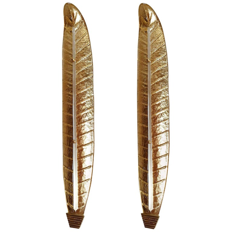 Very long Mid-Century Modern Murano Glass Gold Leaf Sconces, Barovier Style 1970 For Sale
