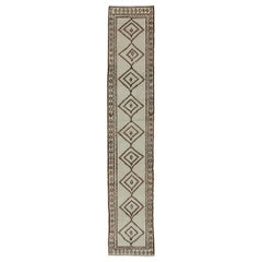 Very Long Runner, Vintage Turkish Tulu in Diamond Tribal Design in Cream & Brown