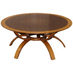 Very Lovely Hand Hammered Brass Topped Walnut Round Contemporary Coffee Table