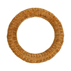 Very Nice 1960s Italian Round Wall Mirror with a Wide Wicker and Bamboo Frame