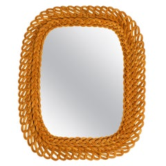 Very Nice 1960s Wall Mirror with Frame Made of Wide Wicker
