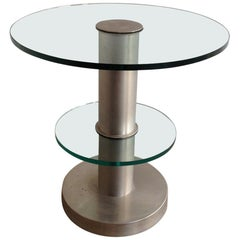 Very Nice Brushed Metal and Glass Round Occasionable Table, circa 1960