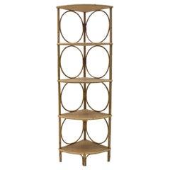 Very Nice Corner Bamboo and Wicker Shelf, Italy, 1950s