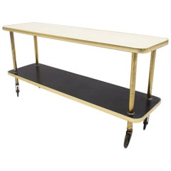 Very Nice Gold, White and Black Serving Trolley, Germany, 1950s