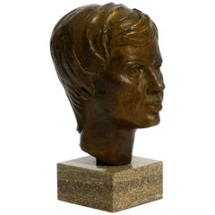 Very Nice Heavy Bronze Bust on a Marble Base Signed with HA from 1976