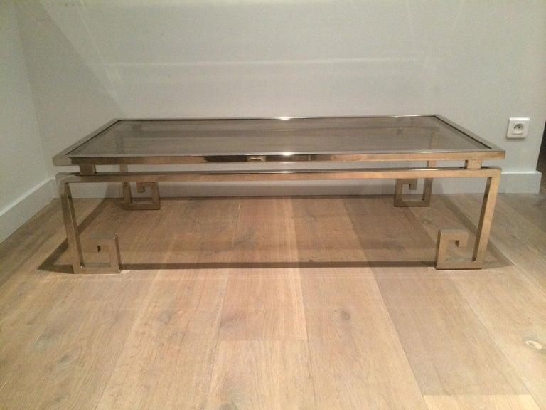 Very Nice Large Chrome Coffee Table, circa 1970  For Sale 8