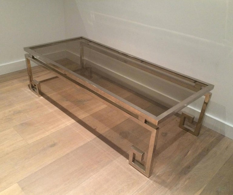 Very Nice Large Chrome Coffee Table, circa 1970  In Good Condition For Sale In Marcq-en-Baroeul, FR
